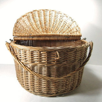 Vintage Picnic Basket Round Hinged Lid Storage Home Decor
