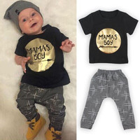 Toddler Baby Infant Mamas Boys Clothes Sets Cute Fashion Jumpsuit Summer 2Pcs Outfit Sets Romper Newborn UK