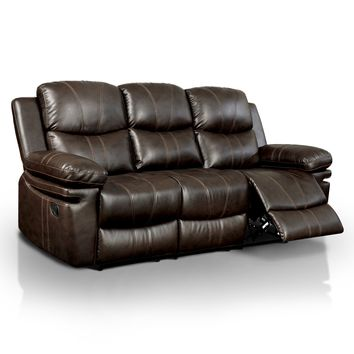 Jean Transitional Bonded Leather Recliner Sofa, Brown