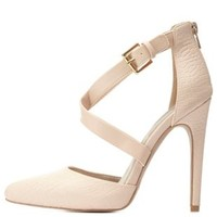 Nude Combo Crisscross Crocodile D'Orsay Pumps by Charlotte Russe
