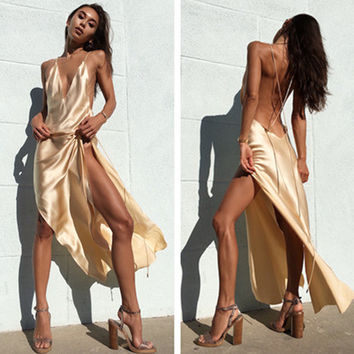 Fashion Crisscross Strap Sleeveless Backless Deep V Split Maxi Dress Evening Dress