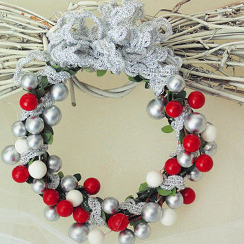 Winter Wreath, Mini Berry Wreath, Silver White Red Christmas Wreath Ornament, Christmas Tree Decor, Holiday Wreath Ornament