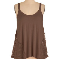 It's Trapeze-y Top in Dark Taupe | Mod Retro Vintage Short Sleeve Shirts | ModCloth.com