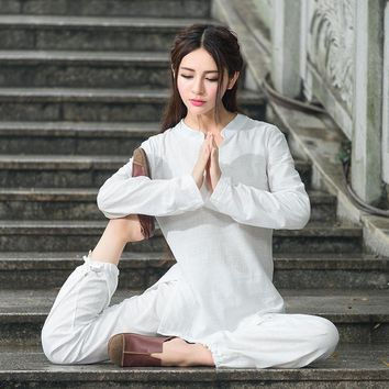 Comfortable 2-Piece Loose Cotton Linen Meditation Tai Chi Clothing Set