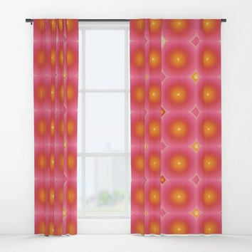 Pink and orange retro pattern Window Curtains by anipani