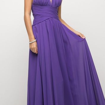 Spaghetti Strap Long Semi Formal Dress Purple A Line