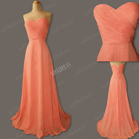 coral bridesmaid dresses, cheap bridesmaid dresses, elegant bridesmaid dress, coral prom dress, evening dress, BM0148