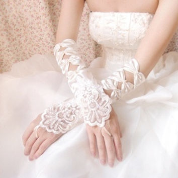 Quadripartite colour the bride embroidered white fingerless gloves wedding dress long design satin embroidered gloves = 1929429828
