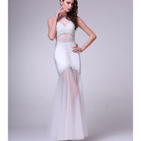 Preorder -  Off White Embellished See Through Mermaid Gown 2015 Prom Dresses