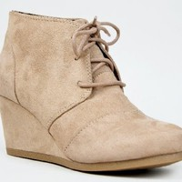 REX Designer toms Inspired Stitch Detail Lace Up Ankle Bootie Wedge, Taupe ISU, 6.5