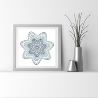 Abstract Flower Print Denim Blue, Light Yellow Particle Art flower_9ax. Limited edition Giclee print, by San Francisco artist Kristin Henry.