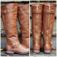 SZ 5.5 Land Explorer Tan Studded Zipper Boots