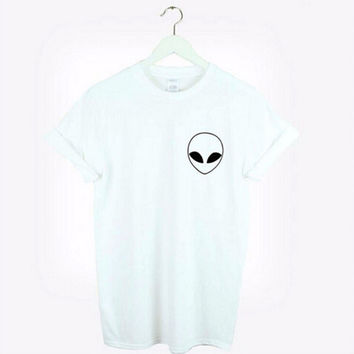 Women's White Alien Emoji Print T Shirt Casual Classic Solid Hipster Top Tee
