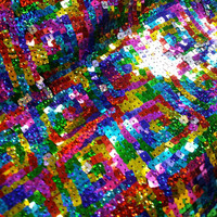 Rainbow hologram Sequins ladies dresses, dance wear belly dancing Party dress sparkling wedding trimming Fabric photography Per Metre
