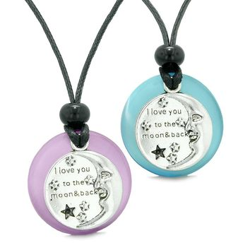 I Love You to the Moon and Back Couples Best Friend Amulets Purple Blue Simulated Cat Eye Necklaces