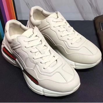 GUCCI 2018 retro sports casual men and women with the same paragraph couple shoes F White