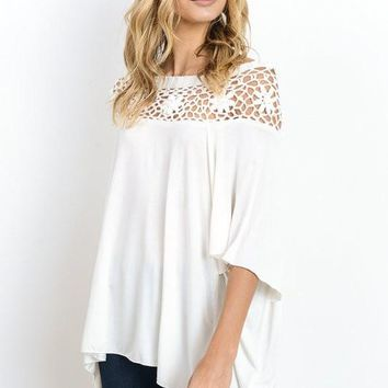 Crochet Detail Flowy Top