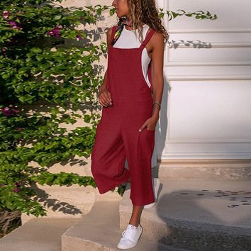 Jumpsuits for Women Sleeveless Dungarees Loose Cotton Linen Long Playsuit Party Jumpsuit