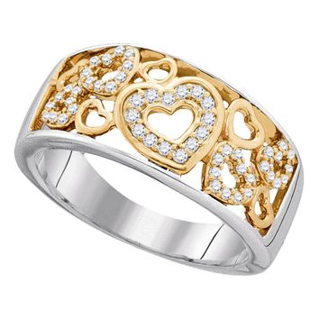 10kt Two-tone Gold Womens Round Diamond Heart Love Band Ring 1/5 Cttw