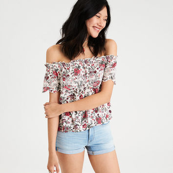 AE Floral Eyelet Top, Cream