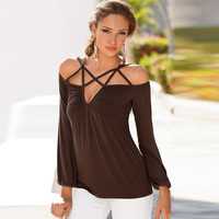 Brown Cross Strap Design Long Sleeve T-Shirt