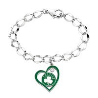 Boston Celtics Crystal Silver Tone Heart Charm Bracelet (Green)