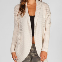 Razzle Dazzle Womens Cocoon Wrap Sweater Oatmeal  In Sizes