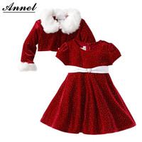 2-10T Baby girls clothes set 2015 winter children clothing set  girls christmas outfit kids girls clothing sets( coat + dress)