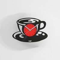 Coffee addict wall clock from upcycled vinyl record (LP) | Hand-made gift for coffee lover | Home wall decoration, housewarming gift
