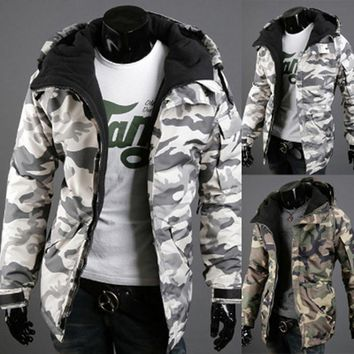 Fashion Spring Winter Jacket Men Parkas Outerwear Military Camouflage Hooded Coat Men Thickening Cotton-padded Jacket XXL 903509