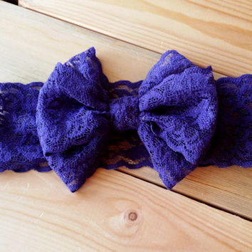 Itty Bitty Lace Bow Headwrap - Itty Bitty Messy Bow - Navy Bow