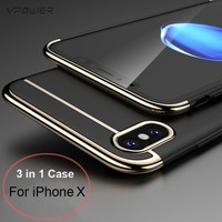 For iPhone X Case Vpower 3 in 1 Ultra Slim Case For Apple iPhone X Luxury PC Hard Plating Phone Back Cover For iPhoneX Shell