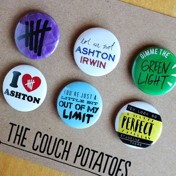 "5 Seconds of Summer 5SOS 1.25"" Buttons 6 Pack - ASHTON"