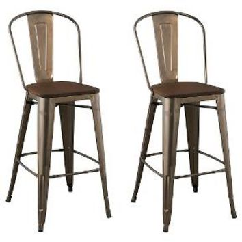 "CarlisleWood Seat 29"" Barstool Steel/Natural Metal (Set of 2) - Ace Bayou : Target"