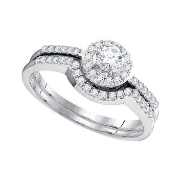 10kt White Gold Women's Round Diamond Halo Bridal Wedding Engagement Ring Band Set 3/8 Cttw - FREE Shipping (US/CAN)