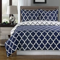 Navy and White Amalia 3-piece Full / Queen Comforter Cover (Duvet-Cover-Set) 100 % Egyptian Cotton 300 TC