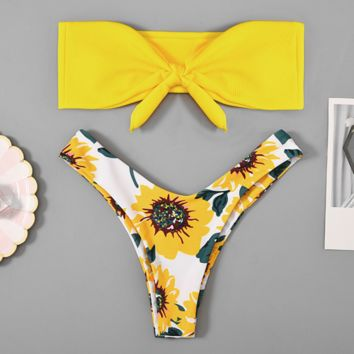 Summer New Fashion Floral Print Strapless Two Piece Bikini Swimsuit Yellow