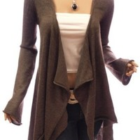 Patty Women Comfy Drape Front Asym Hem Bell Sleeve Jumper Cardigan (Brown S) at Amazon Women's Clothing store: Pullover Sweaters