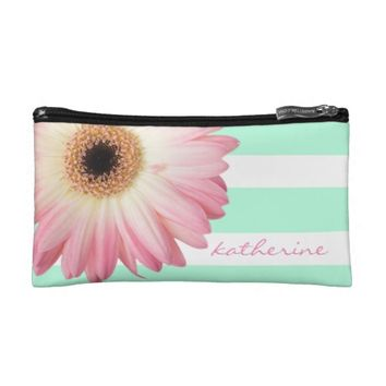 Modern pink daisy on Mint/White stripes, add name Makeup Bags