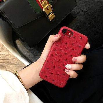 Hot Ostrich Skin Leather Case for Iphone X 7 7Plus 8 8Plus Hard Hipster Back Cover for Iphone 6 6s 6Plus 6sPlus From milli