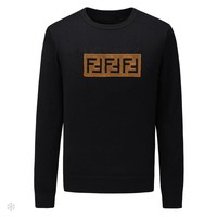 FENDI 2018 autumn and winter tide brand embroidery letters men's round neck pullover sweater Black