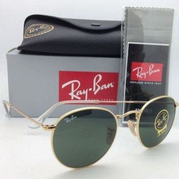 Gotopfashion NEW Ray Ban Sunglasses 3447 001 round Metal Johan Lennon Gold Frame green lens