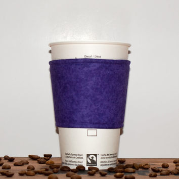 Coffee cozy - Fabric Coffee sleeve - Cup sleeve - Coffee clutch  - Hot cup jacket - Purple - Premium