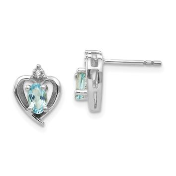 14k White Gold Diamond & Genuine Blue Topaz Heart Stud Earrings