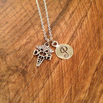 Dental Hygienist initial necklace