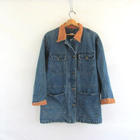 20% OFF SALE...vintage denim jean jacket / women's field coat / size M