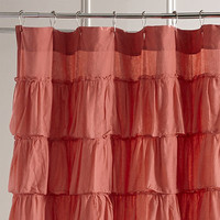 Ruffled Coral Shower Curtain