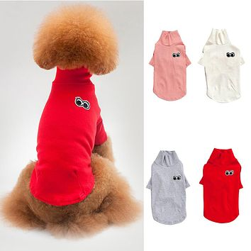 Fashion Pets Dogs Clothes Eyes Warm Jumpsuit Solid Color Apparel Outfit Costume