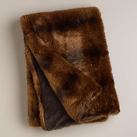 Chocolate Faux Fur Throw - World Market