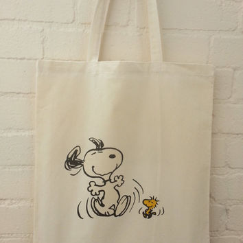 Snoopy and Woodstock Dancing Natural Cotton Tote Bag